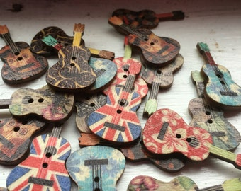 Painted Wooden Guitar Buttons - Craft, Sewing, Scrapbooking Embellishment Birthday