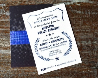 Police Academy Graduation Invitations Front and Back, DIY Printable File