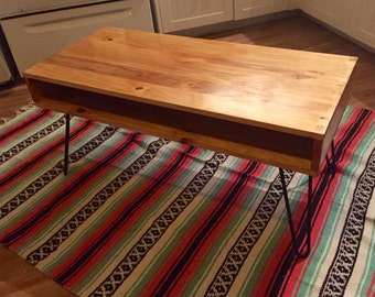 Retro Rustic Reclaimed Wood Mid-Century Coffee table on handmade hairpin legs
