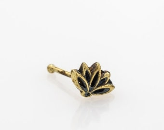 VALENTINE SALE Lotus flower nose stud. nose ring. nose piercing. nose jewelry. nose stud gold. nose stud 18g. nose ring stud. lotus nose stu