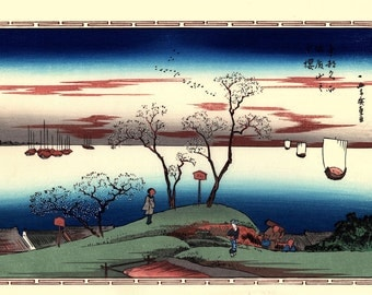 "Japanese Ukiyoe, Woodblock print, antique, Hiroshige, ""Evening Cherry Blossoms at Goten-yama"""