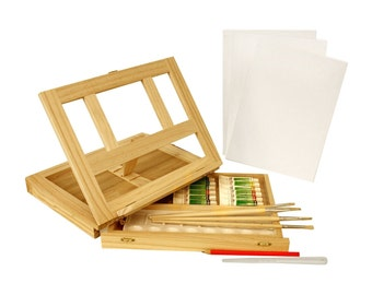 Wood Table Box Easel Painting Set with 12 Colors, Canvas Panels, Brushes, Plastic Palette & Palette Knives (Acrylic Paint Kit)