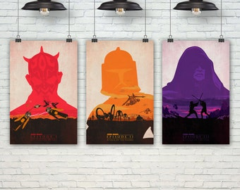 Star Wars Poster. Darth Maul Poster. Pop Culture & Modern Home Wall Decor Art. Gift For Him. Gift For Her. Set of 3 Prints. Item No.: 131
