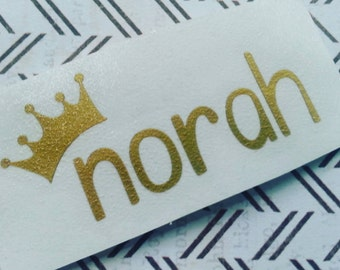 Name Decal with Crown | Name Decal | Crown Monogram | Bottle Label | Daycare Label | Sippy Cup Label