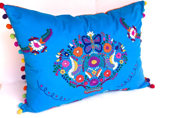 Mexican decorative accent pillow embroidered wedding