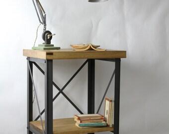 KONK! Industrial Bedside Table/Storage Unit - Oak/Steel - side table, Shelf, Rustic, Vintage