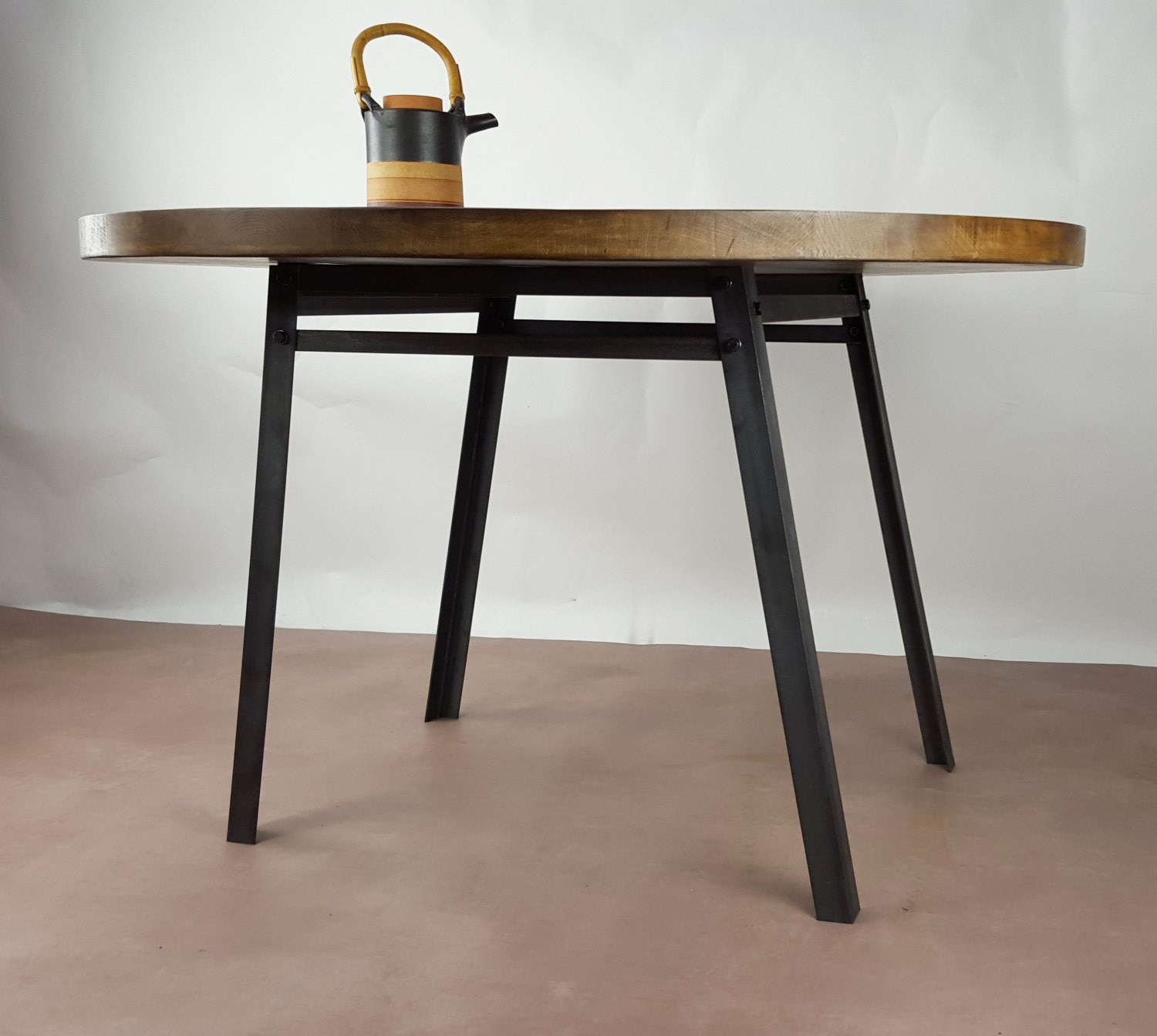 Oak steel industrial round dining table seats up to five for 108 table seats how many