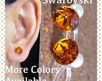 Invisible Clip on earring  C22s  Tangerine Swarovski Wedding Clip on, Hypoallergenic Non pierced earring, Magnetic Earring alternative