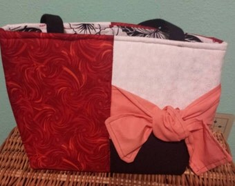 Red with coral bow