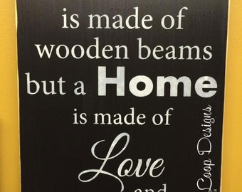 A House is Made of Wooden Beams a Home is Made of Love and Dreams