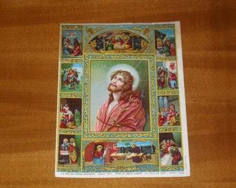 "chromolithography presenting life of Jesus, "" Leben Jesu"", printed in Germany 1900's"