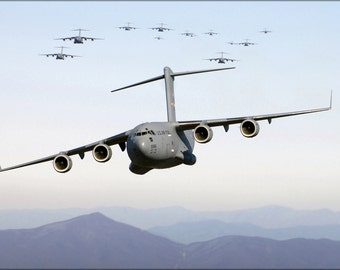 24x36 Poster . Thirteen C-17 Globemaster Iii Over Blue Ridge Mountains