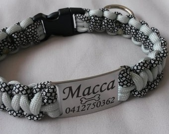 Paracord dog collar with engraved stainless steel name tag. Custom made. Non adjustable