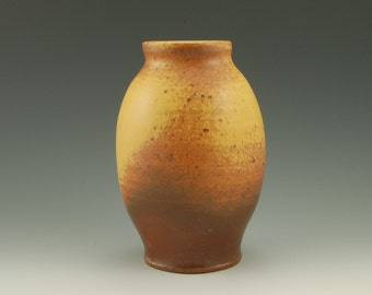 Stoneware Vase, Rustic Gold Yellow, Wheel Thrown, Matte Satin Glaze, Reduction Fired, #155, 7 inches tall