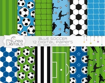 Blue soccer digital papers, printable sports pattern, backgrounds - DIRECT DOWNLOAD