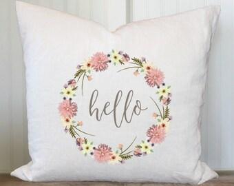 Hello Wreath 20x20 Pillow Cover
