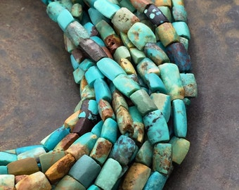 Natural Turquoise Beads Genuine Turquoise Matte Turquoise Hand Cut Puffed Rectangle Beads Full Strand