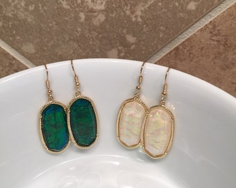 Sale!! Drop Earring in Green and White Shell