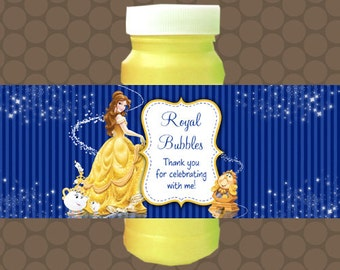 Beauty and the Beast Belle Bubble Labels Wrappers Stickers Printable Uprint Digital DIY Instant Download