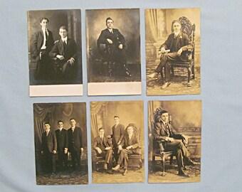 Six Postcards, RPPC Real Photo, Studio Portraits of Men, Dark Suits, High Collars, Ornate Chairs, Circa 1910