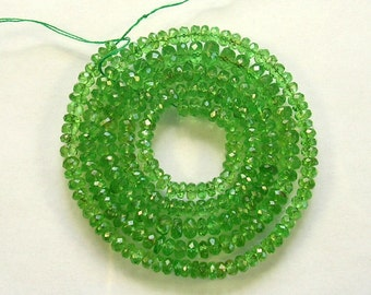 "Tsavorite garnet faceted rondelle beads AAA 3-5.5mm 19.5"" strand"