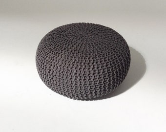 Handmade Knitted Pouf | Charcoal Gray | 80x35cm | Hand Knit Pouf Ottoman Footstool