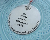 Fully Customizable Handstamped Family Christmas Ornaments, Aluminum, Multiple Charm and Font Options
