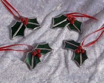 One, stunning stained glass holly Christmas decoration