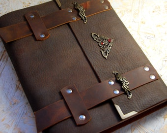 Medieval finding Leather Journal, Natural Jems Inlay, Personalized Journal, Handmade Journal, Diary, Notebook, Brown leather Journal, Gift