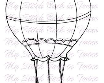 Digital stamp colouring image - OZ Balloon. jpeg / png