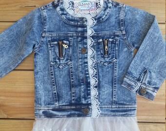 Denim Jacket with Lace, Toddler Denim Jacket, Kids Denim Jacket, Jean jacket, Fall outfit, Toddler Fall Clothes,