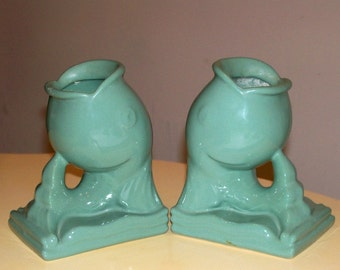 Vintage Abingdon Pottery Green Fish Bookends Vase #444 Mid Century Art Pottery American Made