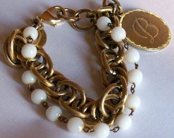 Vintage Maximal Art John Wind ''B'' Initial Charm Bracelet Designer Signed