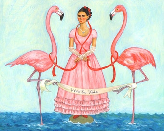 """Signed 10x8"""" Giclee limited edition print """"Flamingo Frida"""", for those who love Frida Kahlo and Day Of The Dead! By Laura Robertson"""
