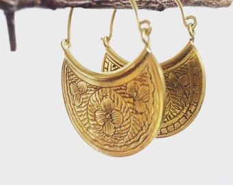 Etched floral tribal earrings, nature  earrings, boho earrings, brass earrings, gold earrings, gypsy earrings, earrings, christmas earrings