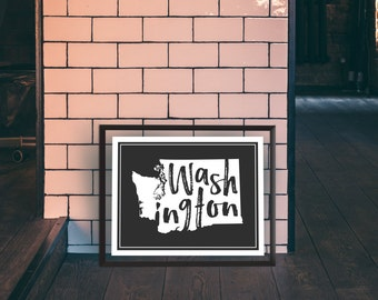 Washington - Washington Print - State Print - Washington Word Print - Washington State Print - Washington Wall Art