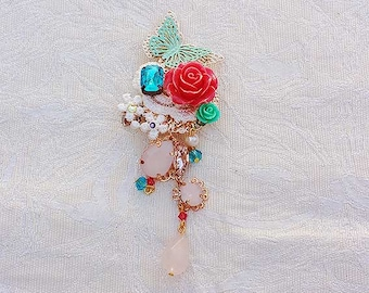 Butterfly Rose Hair/Brooch Accessory