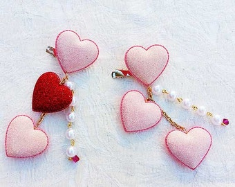 3 Glitter Hearts with Pearls Hair/Brooch Accessory