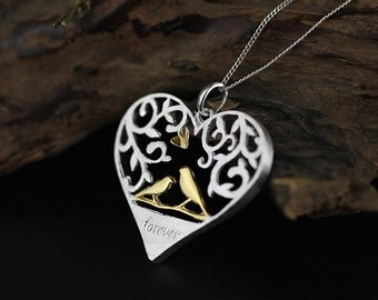 Tree of love Necklace Love Tree Couple Birds Pendant Sterling Silver Cutout Women Style Valentine's Day Gift for her
