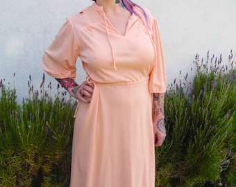 Vintage Peach Dress-70s Dress-Woman's Vintage-Rose -Size Medium/Large