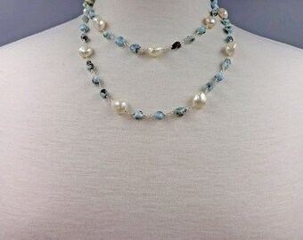 Rosary Style Beaded Chain Larimar chips and Fresh Water Pearl Long Necklace