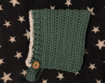 Crochet baby pixie / elf hat with soft fleece trim available in various sizes and colour SAGE / GREEN