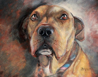 CUSTOM pet portrait on canvas - ONE pet - with love to animals =)