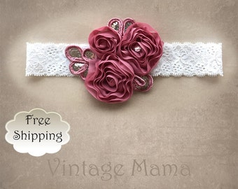 Girls Vintage Headband - Rose Stretch Lace with Flowers - Newborn to 5yr