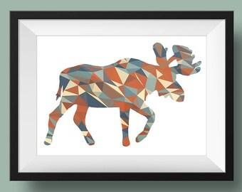 Moose Print | Geometric Moose