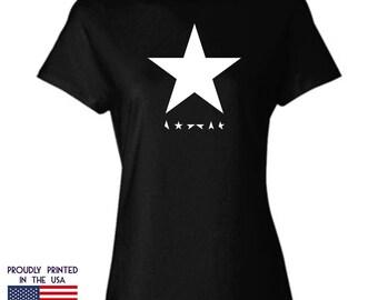 David Bowie Blackstar Tribute Womans black Tshirt Ttd4