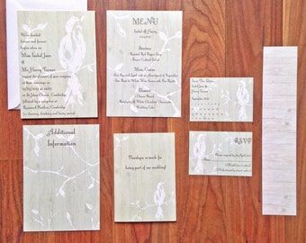 Rustic Bird 'Belle' - Wedding Stationery - SAMPLE PACK ONLY