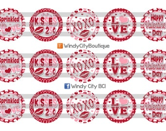 Valentine's Day Bottle Cap Images- Red and Pink