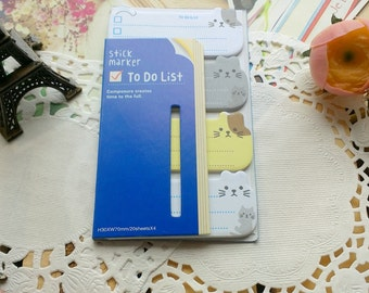 Cute Stick Marker KAWAII Kittens Animal Memo Pad Sticker Notes/ To Do Notes/1PC