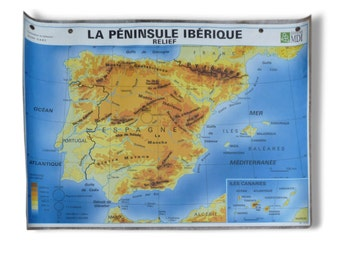 School edition MDI Iberia vintage poster / school / map Spain / portugal map / Magic' chip